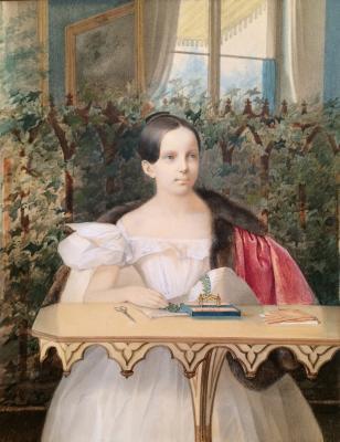 "Gau V. I. ""Grand Duchess Alexandra embroidering."""