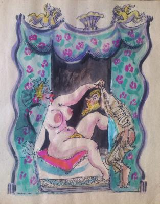 """Skobelev M. A. """"Illustration to the poem Barkov """"Luke Mudischev"""""""""""