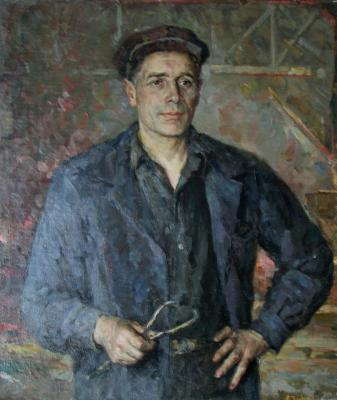"""Bogdanov """"Portrait of a factory worker and the Hammer and Sickle. Turtanova."""""""