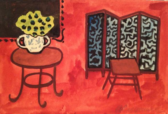 "Vedernikov A. S. ""Interior on red background."""