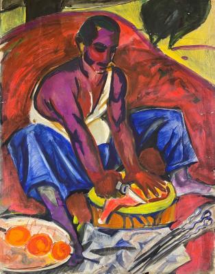 Джемаль Джаид Шамиль Оглы. Разделка мяса для шашлыков