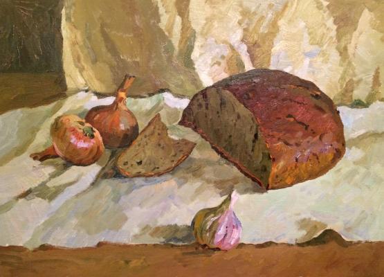 Титов Анатолий Михайлович. Натюрморт с хлебом и луком.