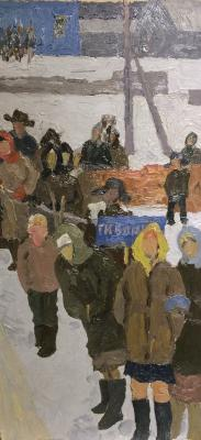 "Titov A. M. ""At the bus stop."""