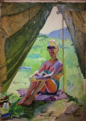 Титов Анатолий Михайлович. Девушка загорает около палатки