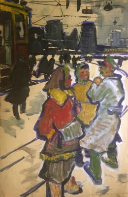 "Nazarov K. B. ""Highway enthusiasts. At the bus stop."""