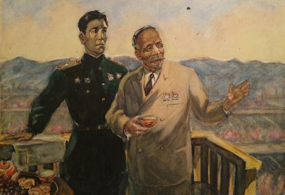 """Grigoryants K. """"Double portrait of Sabir Rakhimov and Yuldash Akhunbabayev."""""""