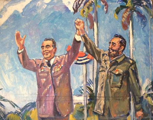 """Korzhevsky """"Leonid Brezhnev and Fidel Castro."""""""
