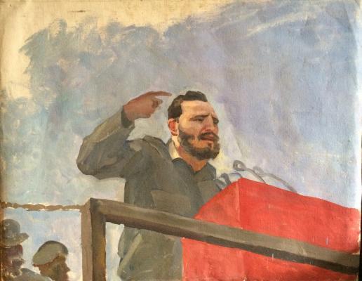 "Korzhevsky B. G. ""Speech by Fidel Castro at the Revolution Square."""