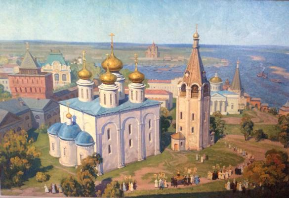 """Grishin G. P. """"The religious procession in the Nizhny Novgorod Kremlin."""""""