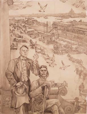 Девяткин Александр Александрович. Максим Горький и Федор Шаляпин на фоне старого Нижнего Новгорода