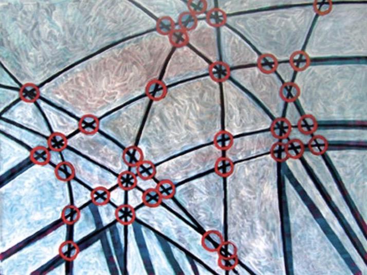 Голицына Клара Николаевна. Пересекающиеся линии с красными кругами