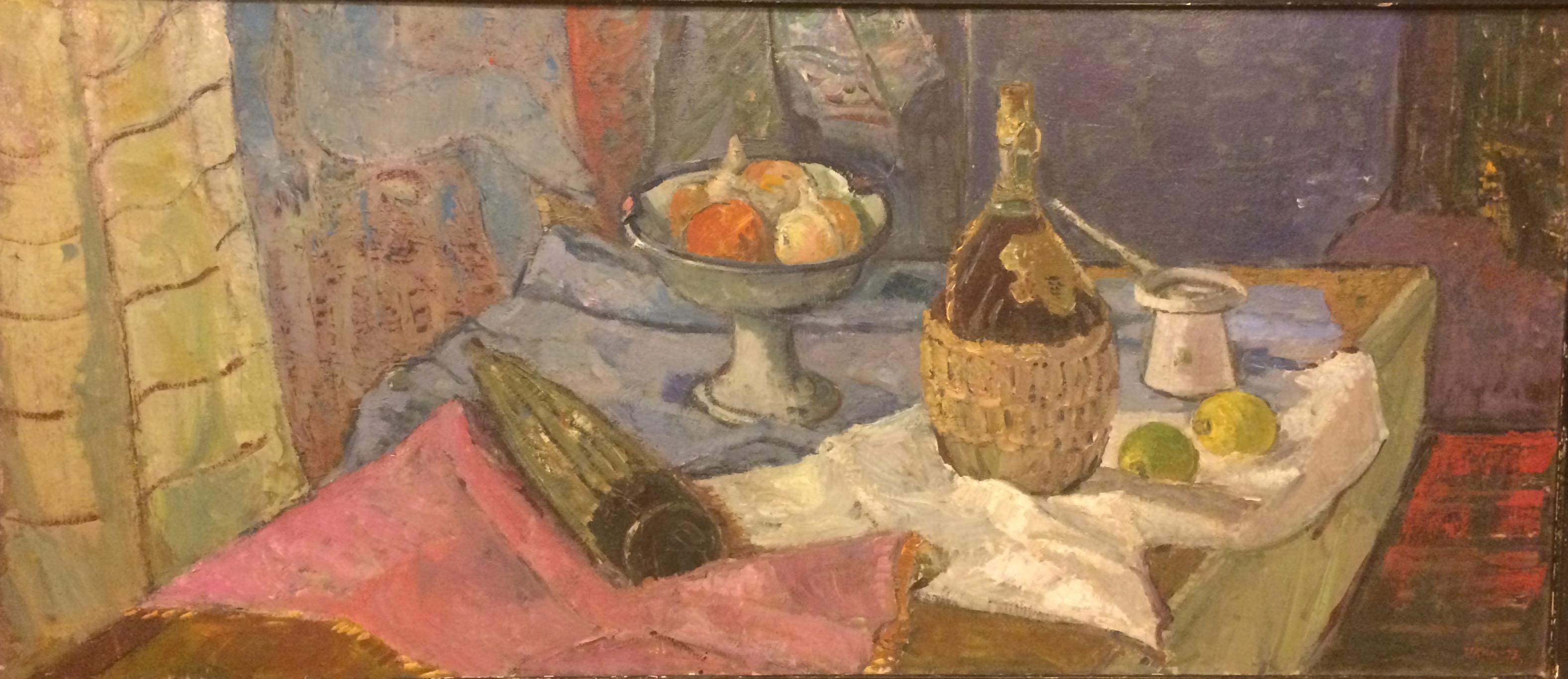 Кац Илья Львович. Натюрморт с бутылкой вина.