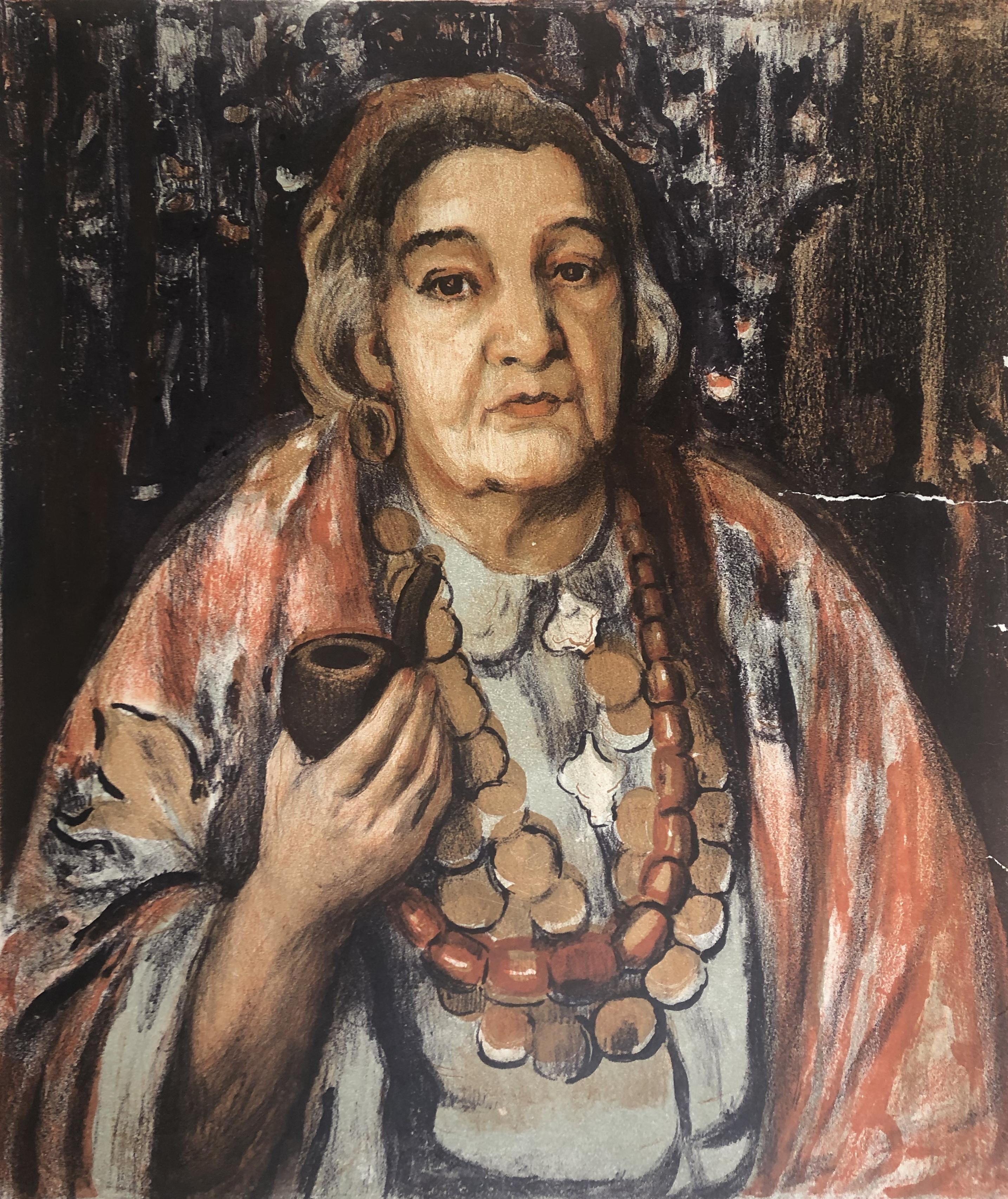 Гиппиус Наталия Александровна. Портрет пожилой женщины с трубкой