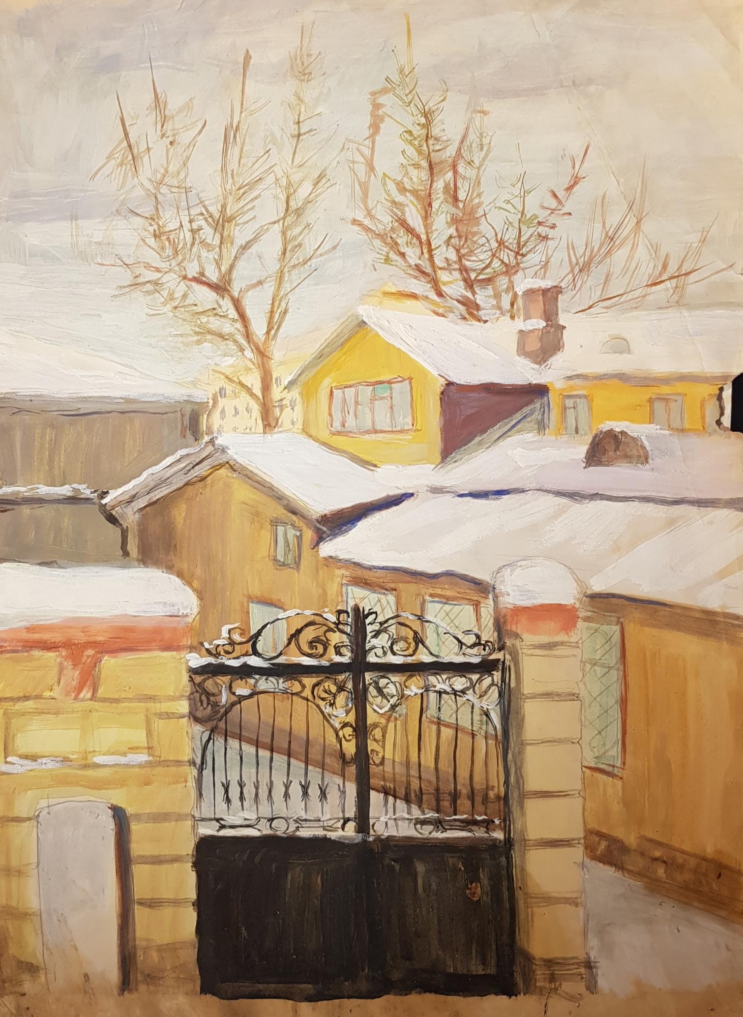 Барвенко Виктор Петрович. Городской пейзаж. Вид во двор