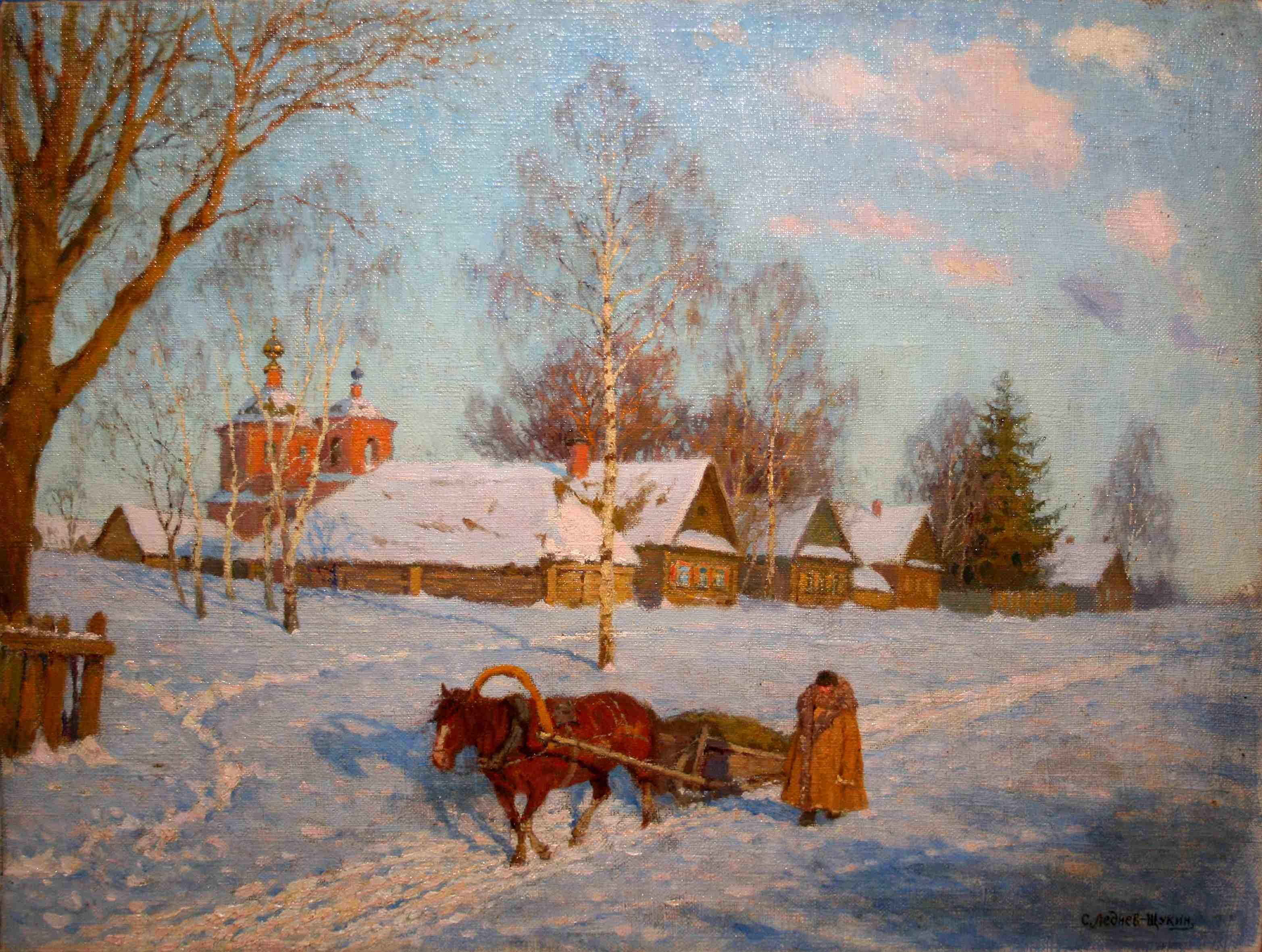Леднев-Щукин Сергей Евграфович. Март в деревне.