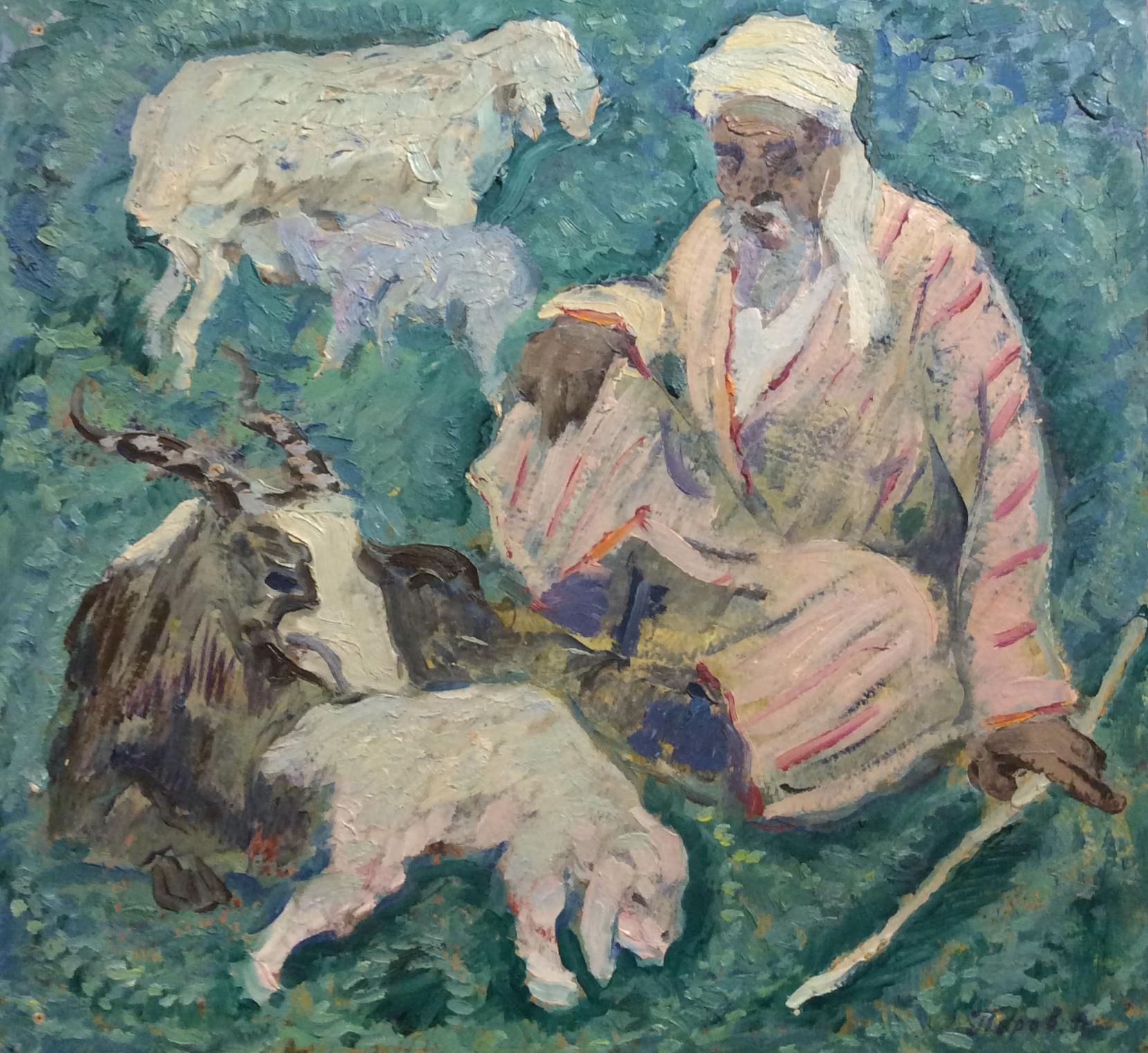 Перов Александр Петрович. Пастух с овцами