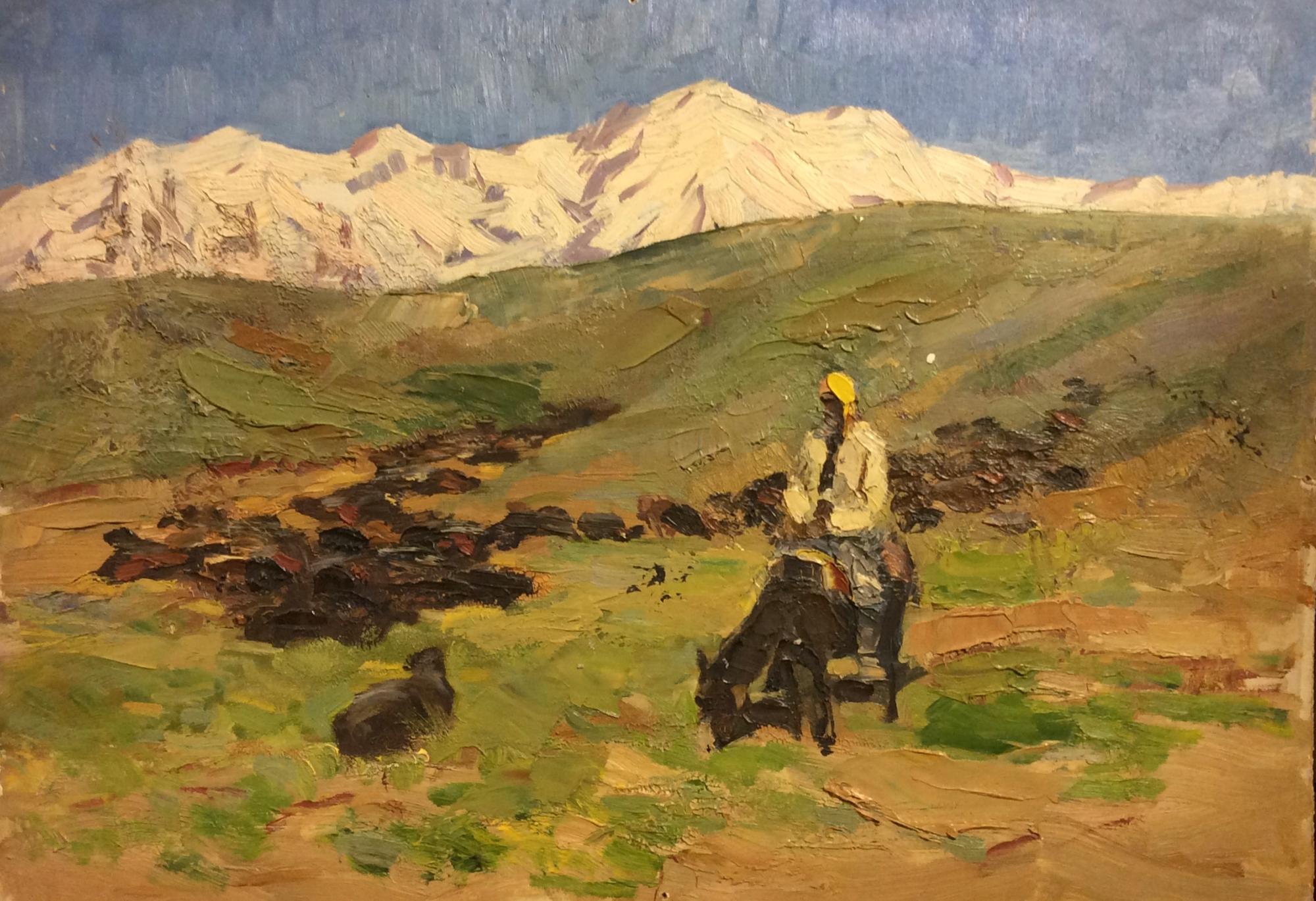 Перов Александр Петрович. Мужчина на осле в горах