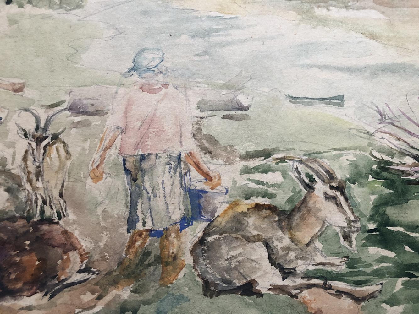 Ермилова-Платова Ефросинья Федосеевна. Полуденная дойка коз на пастбище