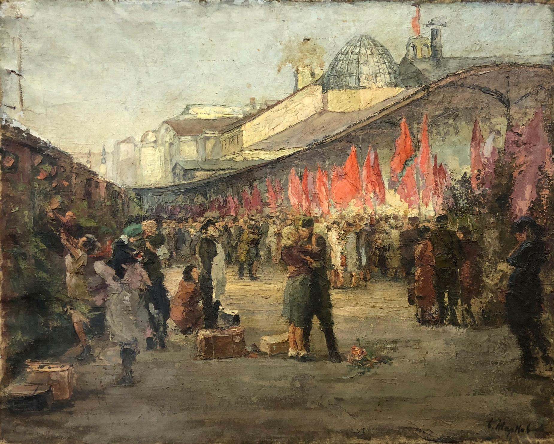 Жарков Борис Степанович. Встреча воинов на Белорусском вокзале. Первый поезд.