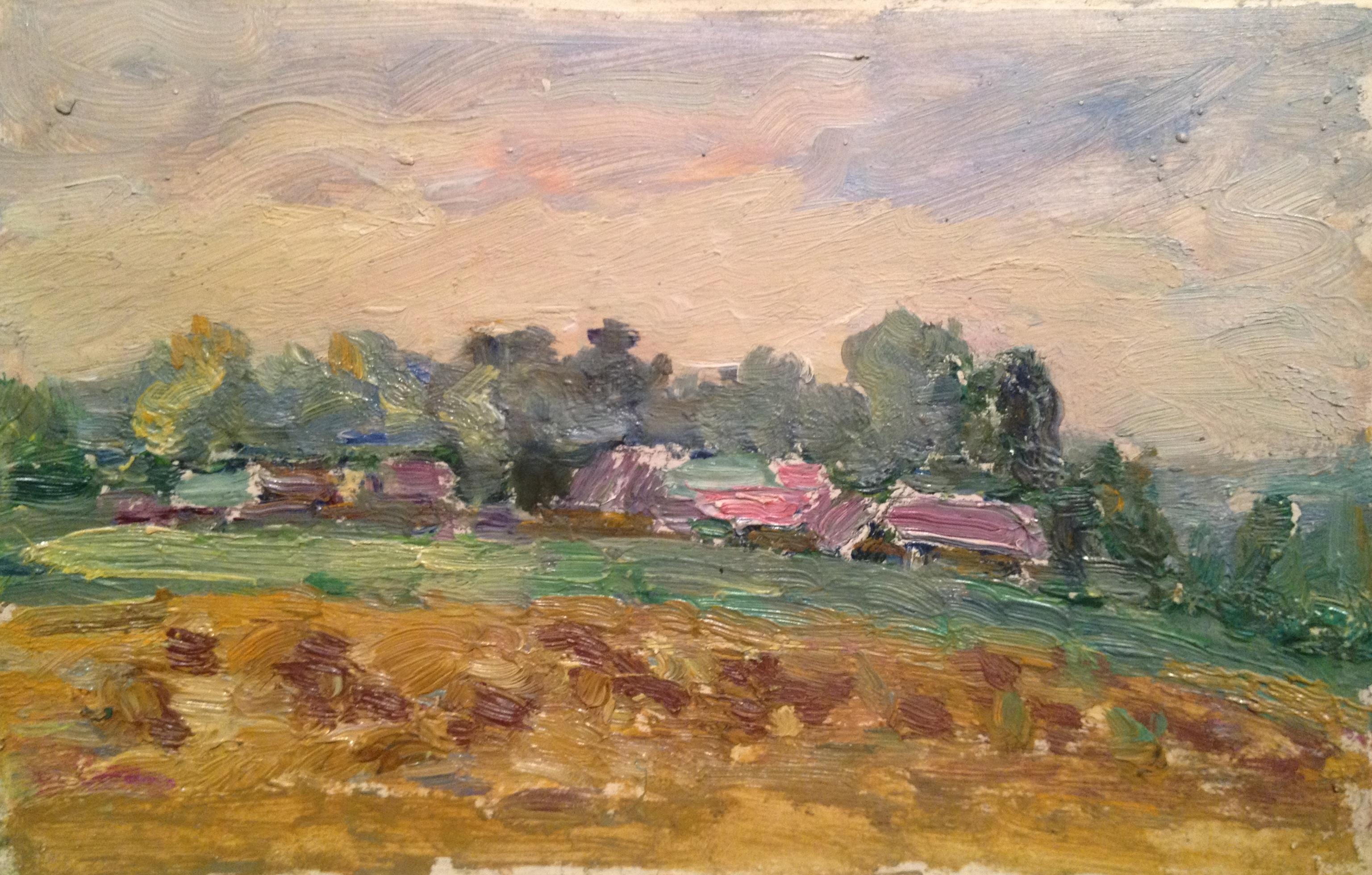 Удальцова Надежда Андреевна. Пейзаж с розовыми крышами.