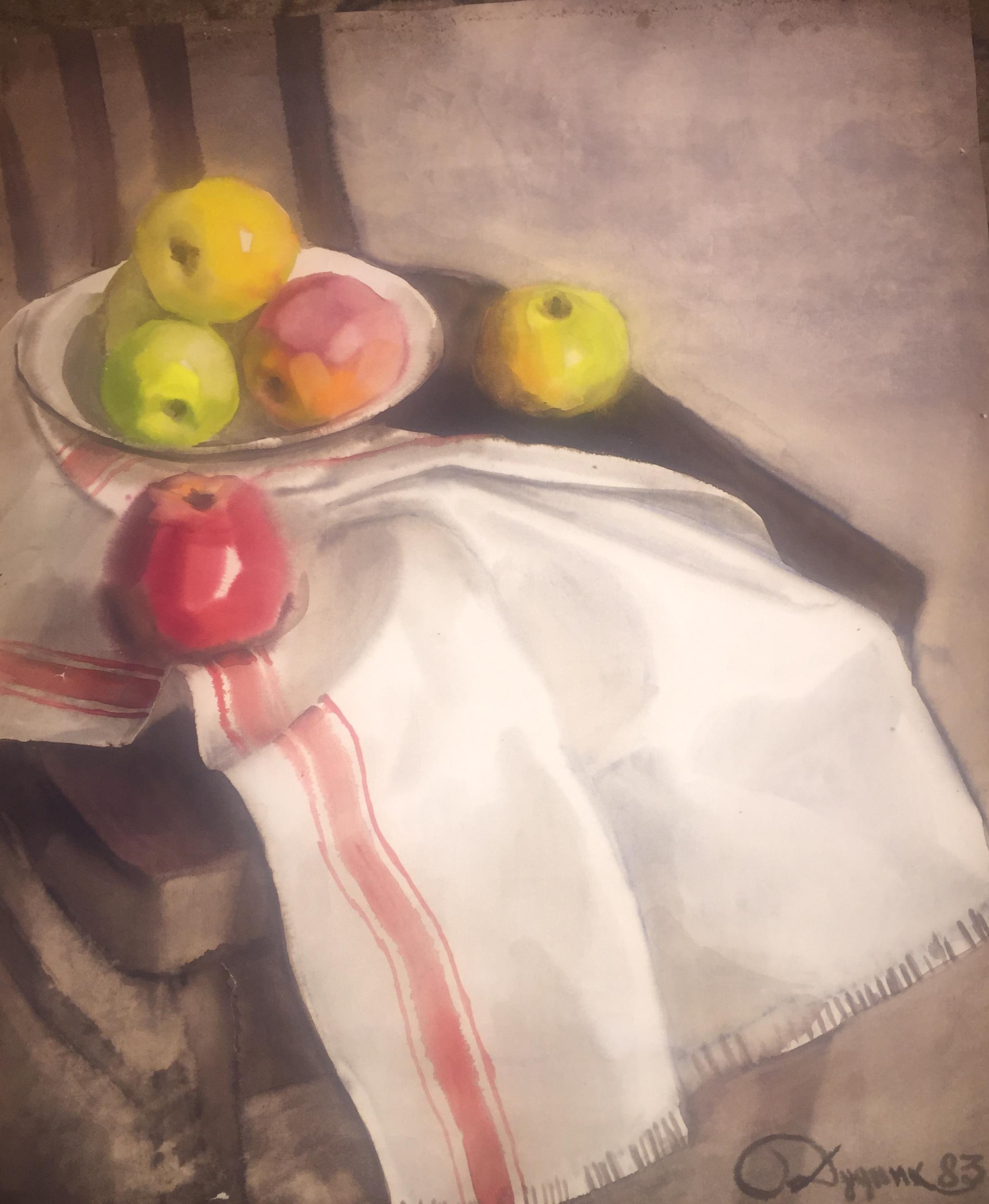 Дудник Степан Ильич. Натюрморт с  яблоками.