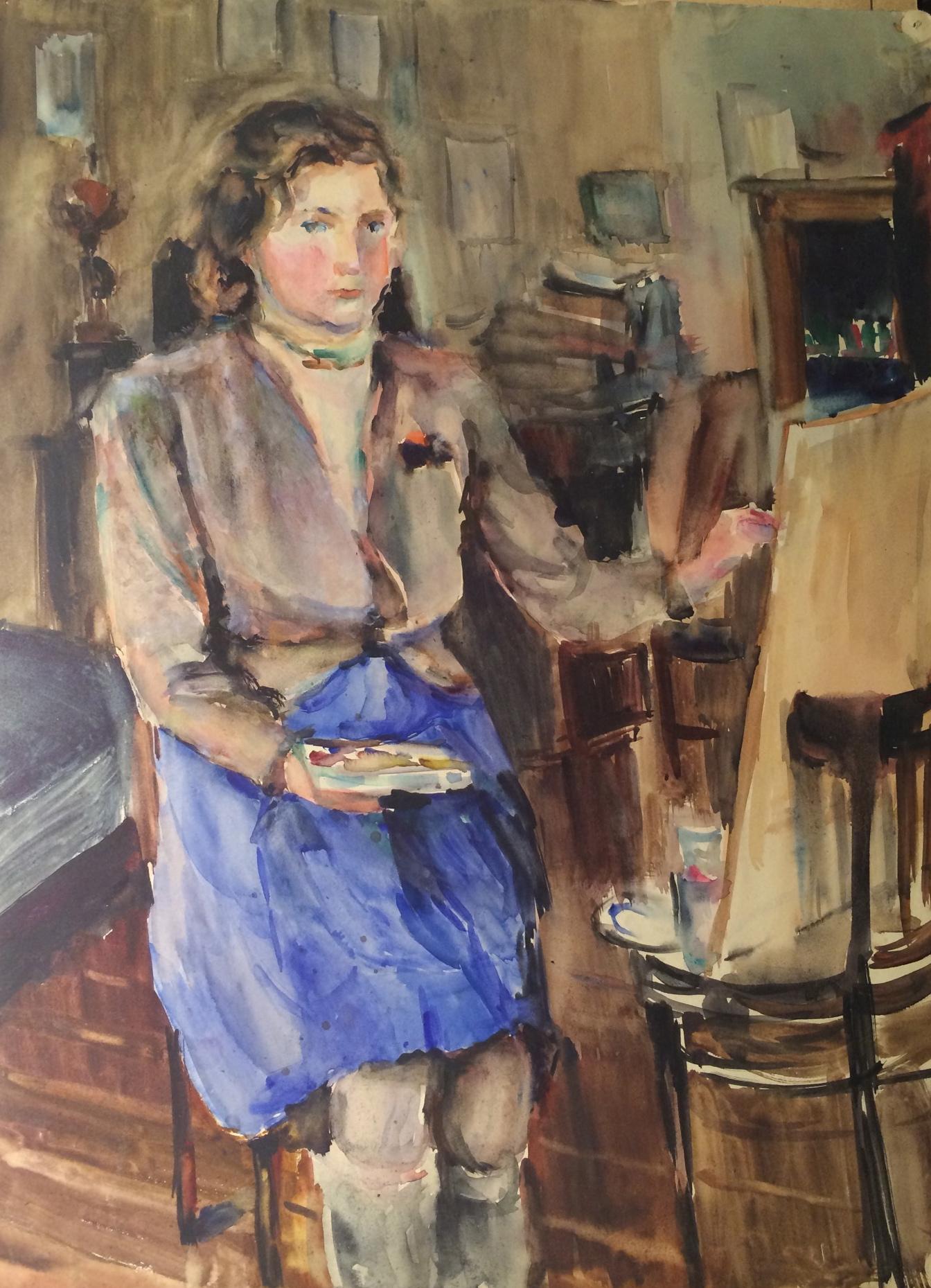 Шевандронова Ирина Васильевна. Юная художница. (Автопортрет в юности).