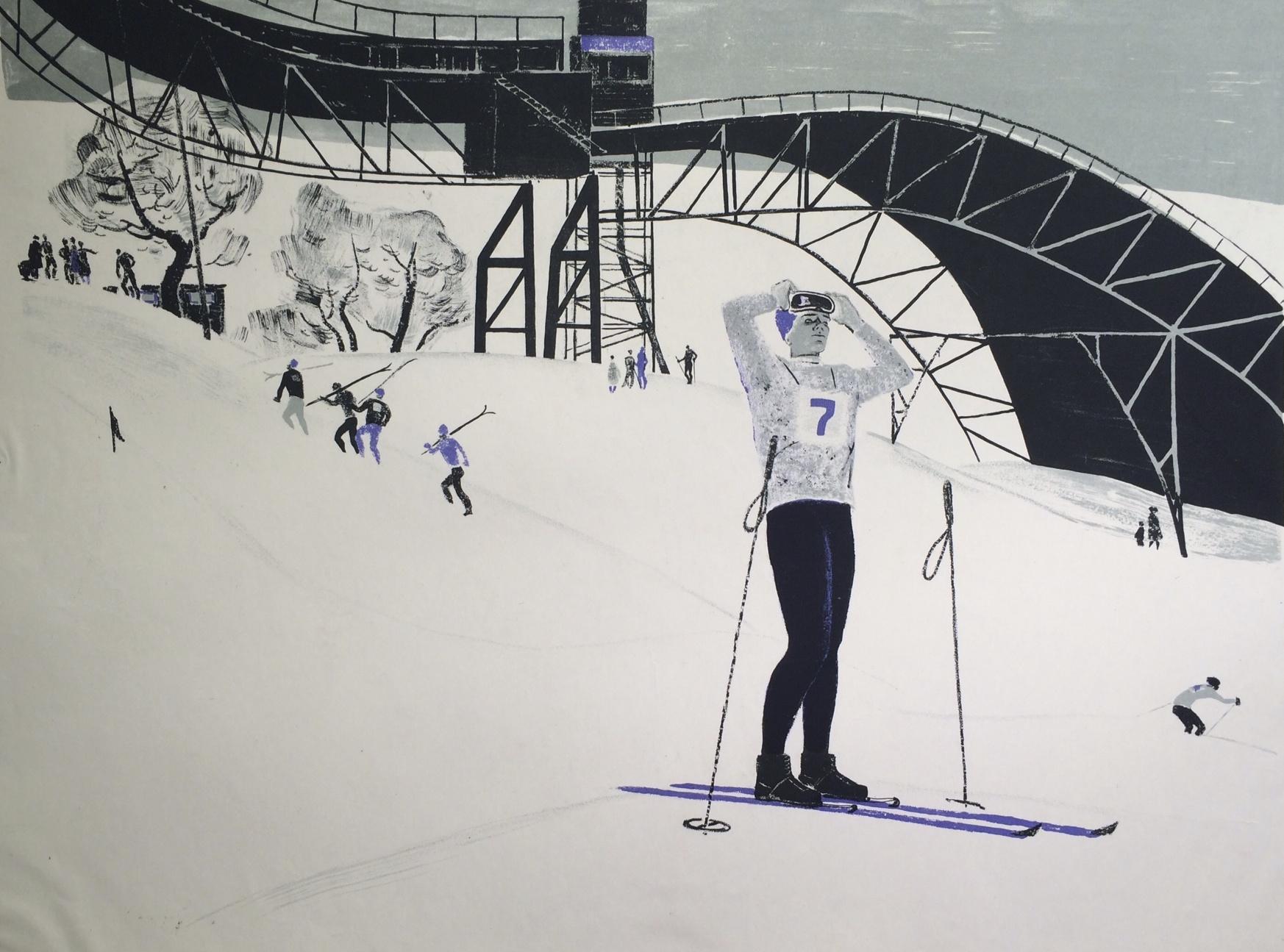 Неизвестный художник . Горные лыжи.