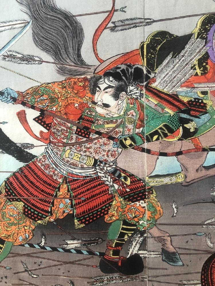 Неизвестный художник . Сражение двух конных самураев