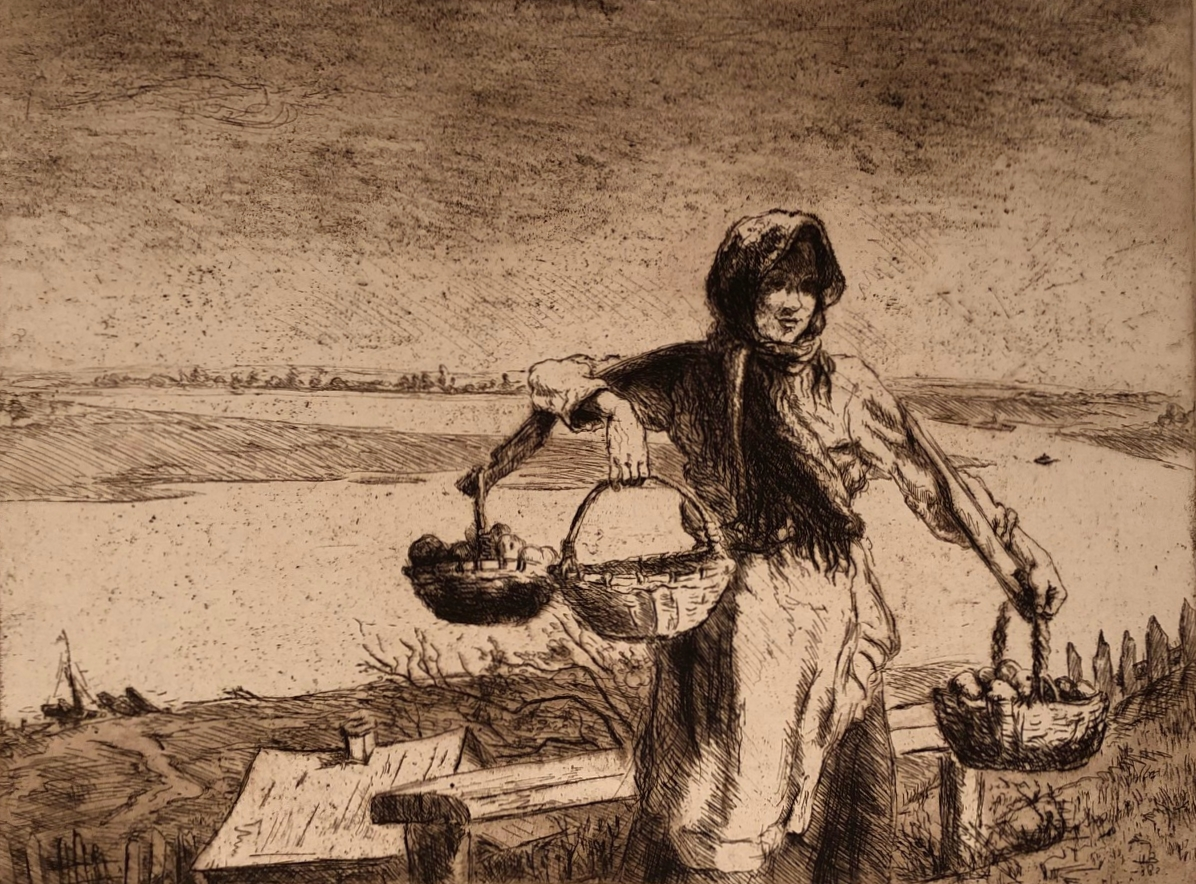 Неизвестный художник . Девушка с лукошками
