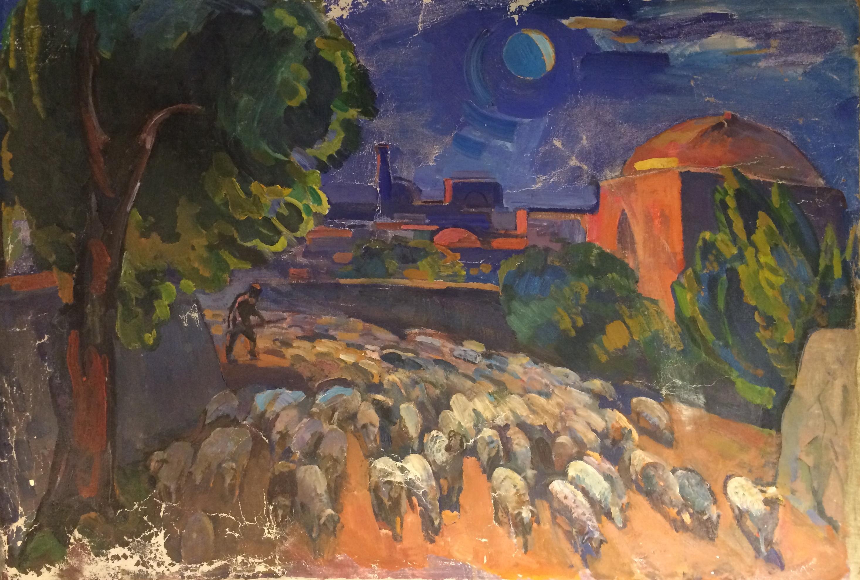 Васин Виктор Федорович. Средняя Азия. Пейзаж со стадом овец.