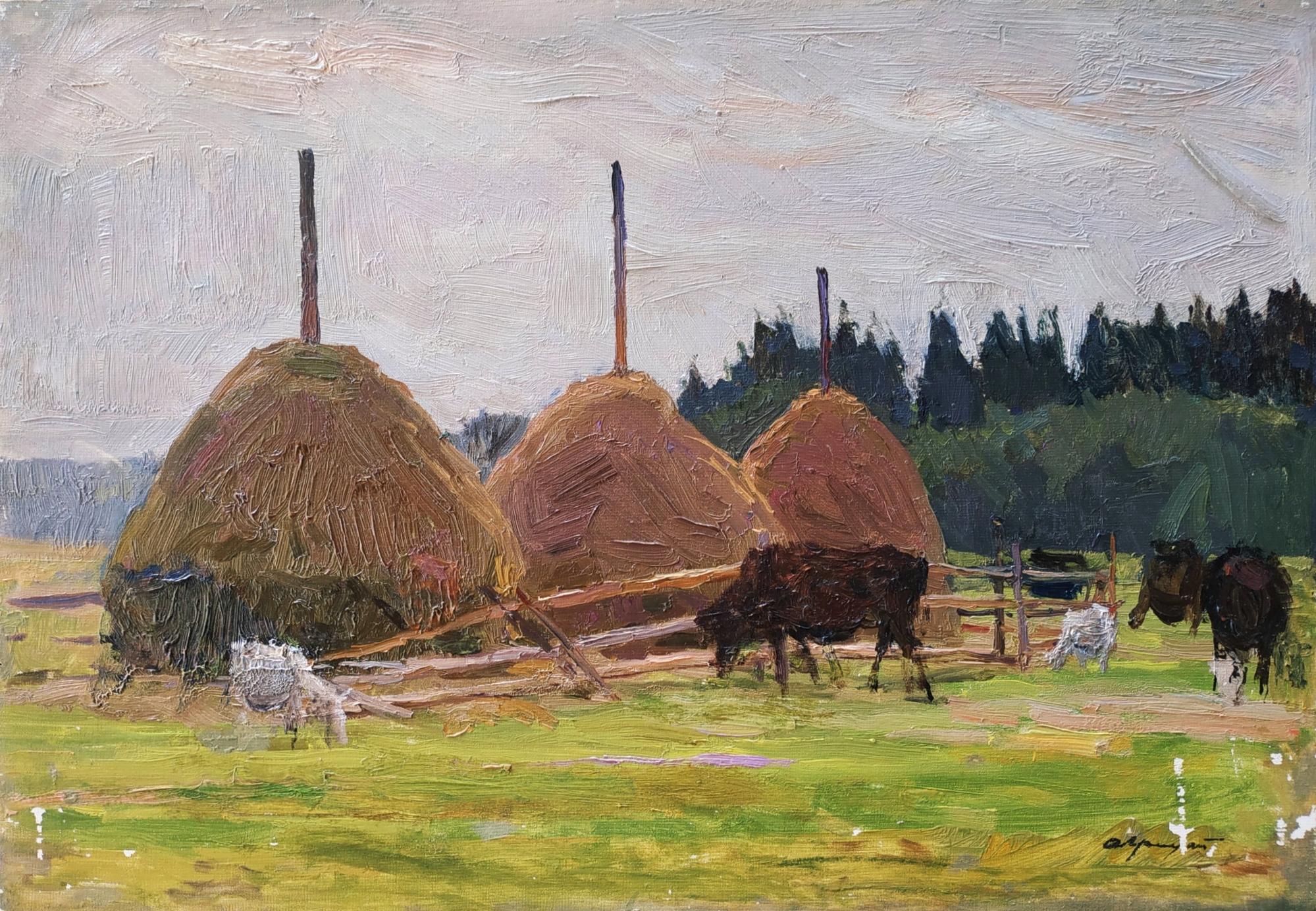 Грицай Алексей Михайлович. Стога сена с коровами