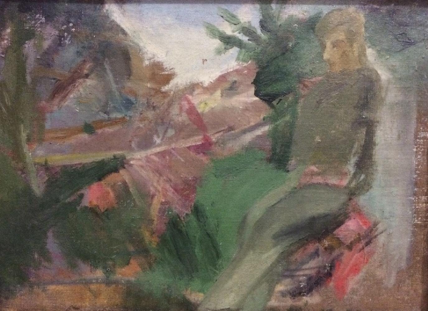 Жегин (Шехтель) Лев Федорович. Пейзаж с фигурой солдата.