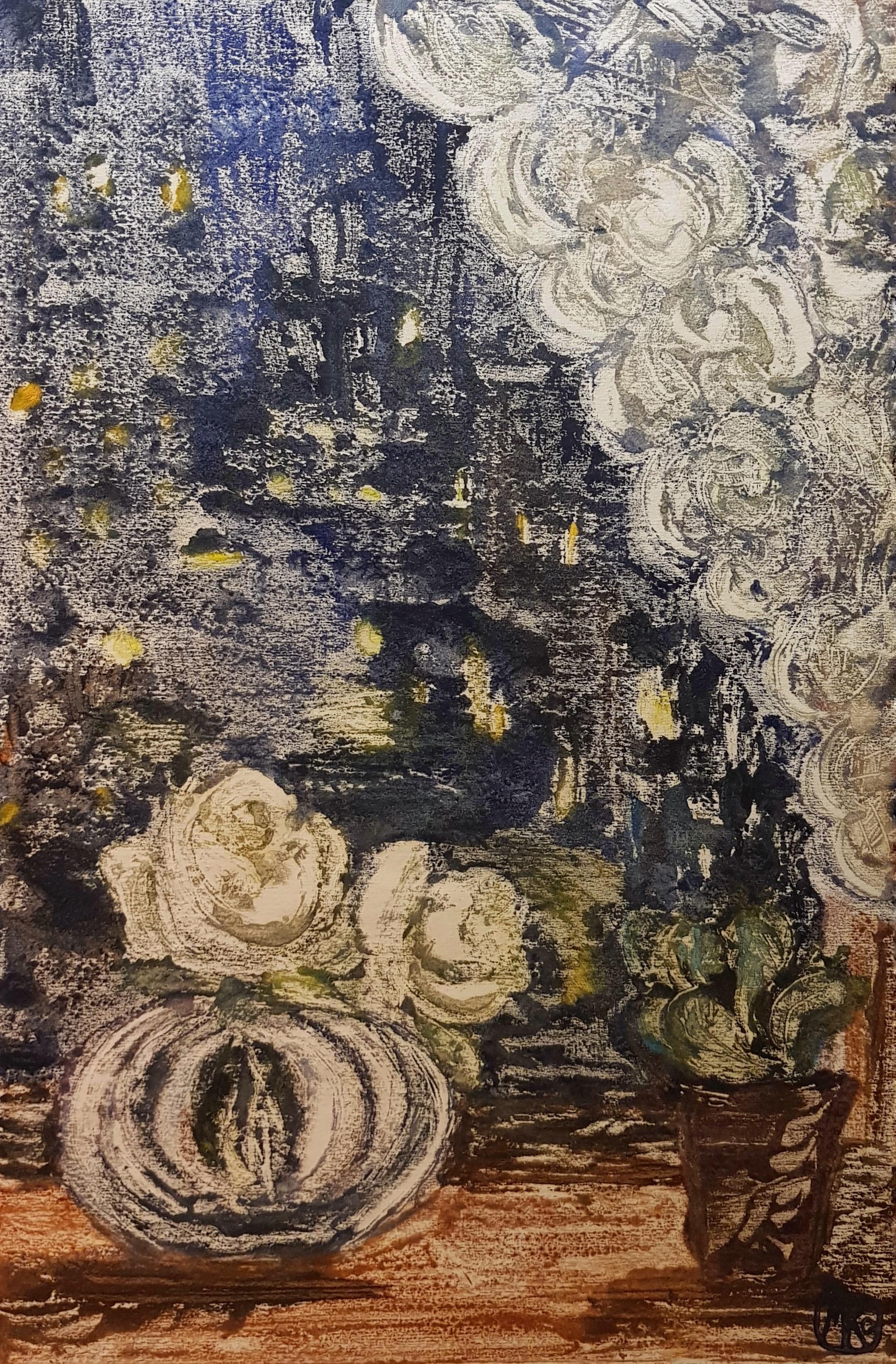 Раубе-Горчилина Мария Вячеславовна. Вечерний натюрморт с белыми розами