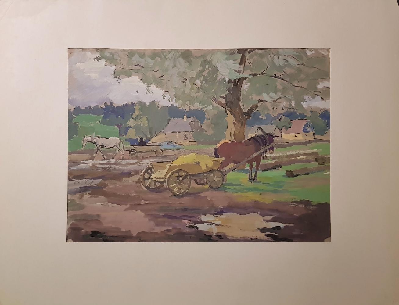 Пискарева Анна Николаевна. Лошадь с повозкой