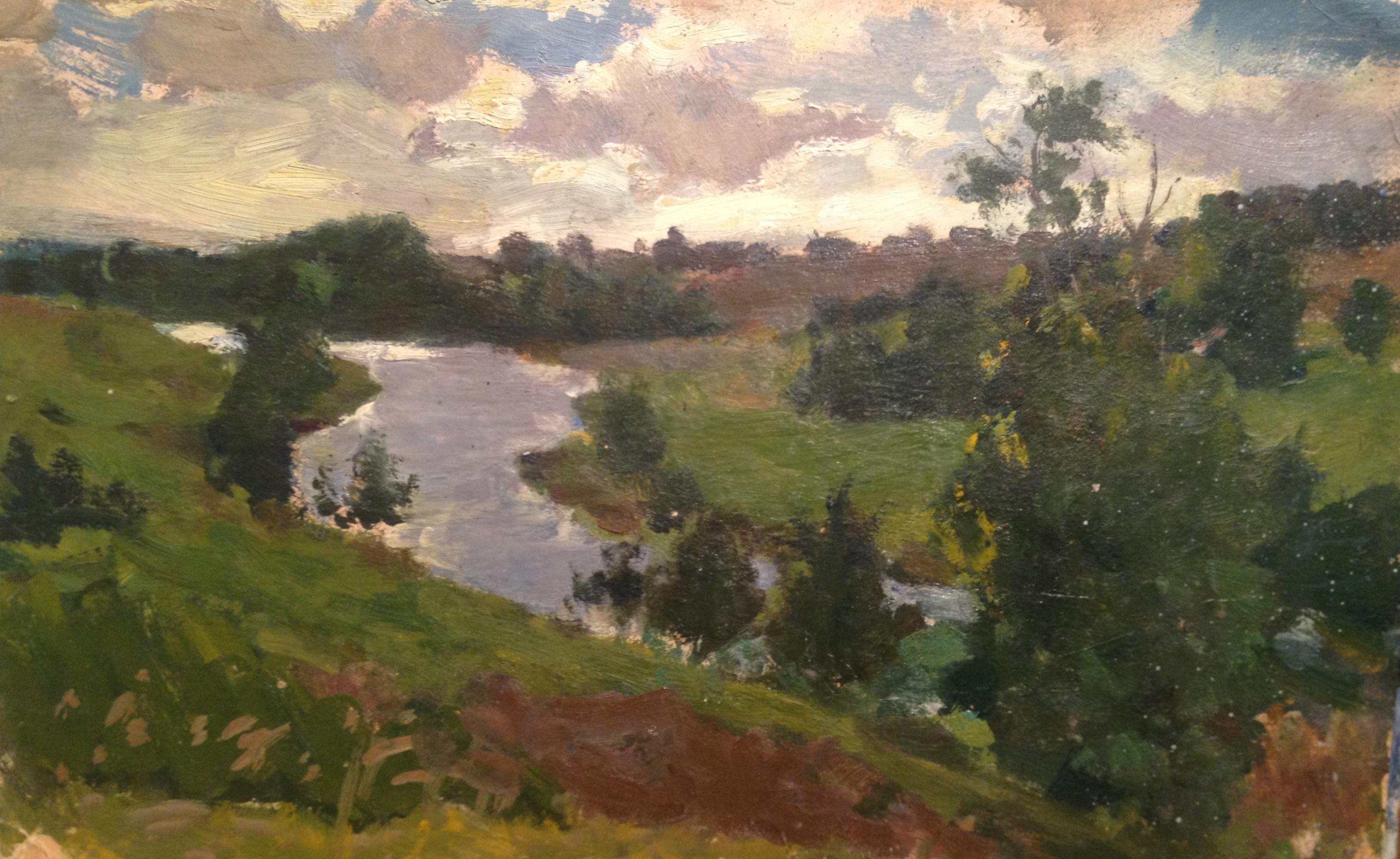 Малаев Федор Петрович. Пейзаж с рекой.