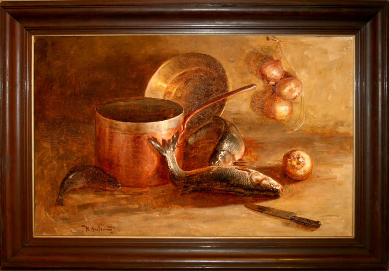 Клевер (сын) Юлий Юльевич. Натюрморт с рыбой и кухонной утварью