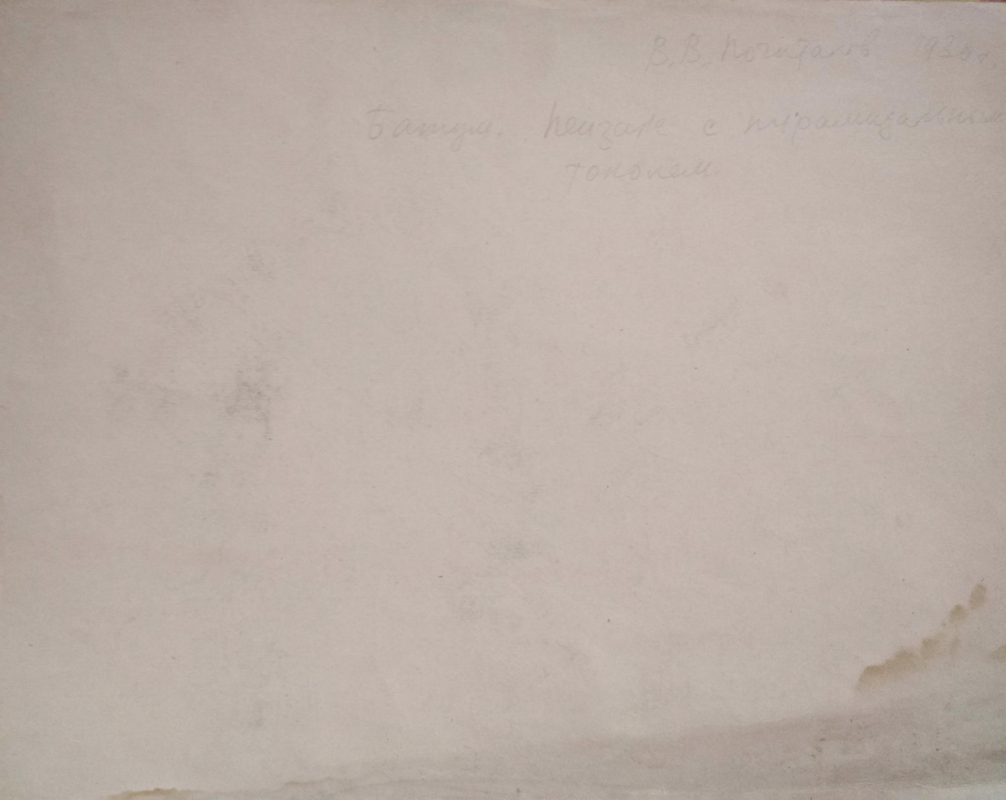 Оборот. Почиталов Василий Васильевич. Батуми. Пейзаж с пирамидальным тополем