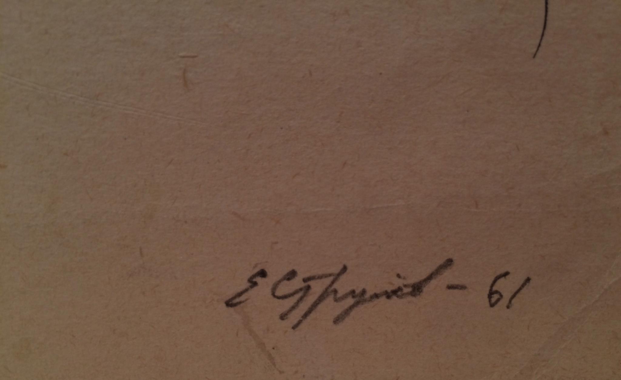 Подпись. Струлев Евгений Алексеевич. Сидящая обнаженная со спины