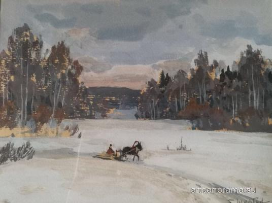 Shcherbakov Boris Valentinovich - Winter landscape with a horse.