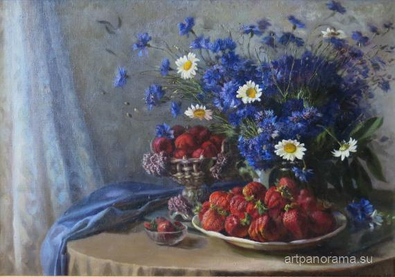 Margarita Yefimovna - Still-life with cornflowers.